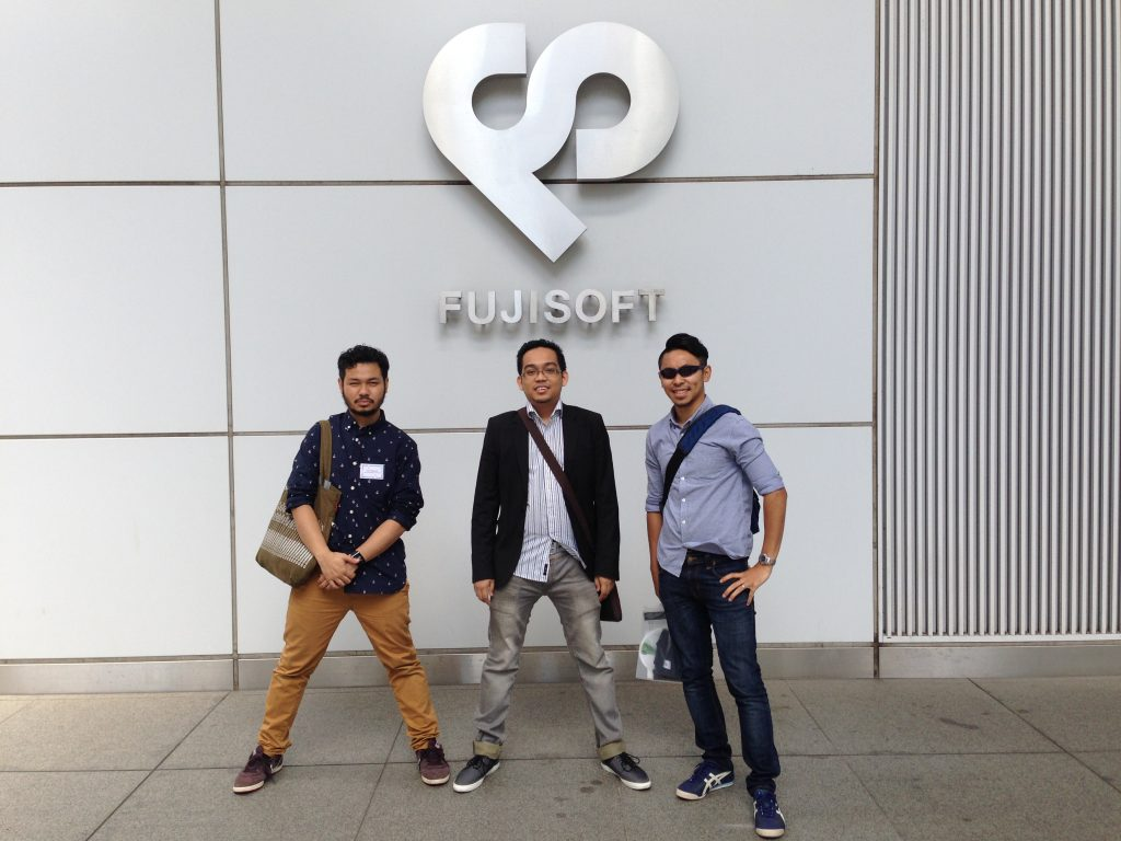 Fariz, Hikmat and me outside the Fujisoft Building in Akihabara